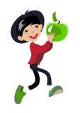 Мальчик подростка шаржа с зеленым яблоком Стоковое Изображение RF