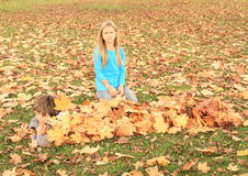 Мальчик пряча под листьями Стоковое Фото