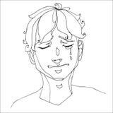Мальчик плача тяжело, человеческие эмоции Стоковое Изображение RF