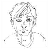 Мальчик плача тяжело, человеческие эмоции Стоковые Изображения RF