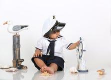 Мальчик пляжа военно-морского флота Стоковая Фотография