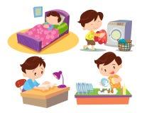 Мальчик работающ в доме много действие Стоковые Фотографии RF