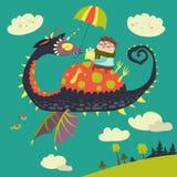 Мальчик сидя на драконе иллюстрация вектора