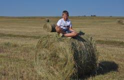 Мальчик сидя на стоге сена в луге Стоковое фото RF
