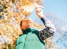 Мальчик смотрит на свете солнца осени через большой кленовый лист Стоковые Фотографии RF