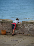 мальчик смотря вне море к стоковое фото