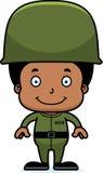 Мальчик солдата шаржа усмехаясь иллюстрация вектора
