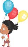 Мальчик с воздушными шарами партии Иллюстрация штока