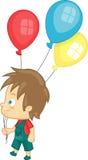 Мальчик с воздушными шарами партии Бесплатная Иллюстрация