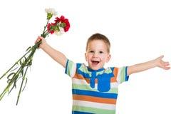 Мальчик с гвоздиками стоковые изображения rf