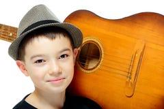 Мальчик с гитарой Стоковые Фото