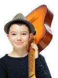 Мальчик с гитарой Стоковое Изображение