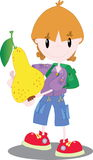 Мальчик с грушей Стоковое Фото