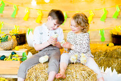 Мальчик с девушкой на сене с цыплятами Стоковые Изображения RF