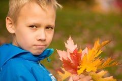 Мальчик с листьями осени Стоковое Изображение RF