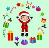 Мальчик с костюмом рождества и круглой рамкой Стоковые Изображения RF