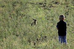 Мальчик с кроликом пасхи Стоковые Изображения