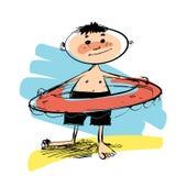 Мальчик с кругом заплывания Стоковое фото RF