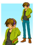 Мальчик с наушниками Стоковая Фотография RF