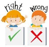 Мальчик с неправильным знаком и девушка с правым знаком иллюстрация штока