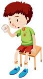 Мальчик с носом кровотечения иллюстрация вектора