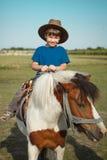 Мальчик с пони стоковая фотография rf