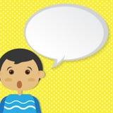 Мальчик с пузырем речи Стоковое Фото