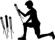 Мальчик с ракетами бутылки Стоковые Изображения