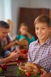 Мальчик с Турцией стоковое фото rf