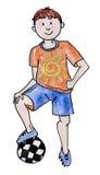 Мальчик с футболом Стоковое фото RF
