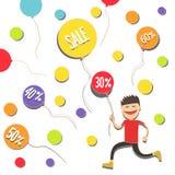 Мальчик улавливает скидки Ваучеры скидки воздушных шаров также вектор иллюстрации притяжки corel Стоковые Фото