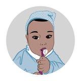 мальчик чистя его зубы щеткой бесплатная иллюстрация