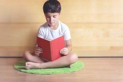 Мальчик читая книгу стоковое фото rf