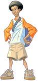 Мальчик шаржа Афро-американский предназначенный для подростков с рюкзаком Стоковое Фото