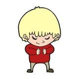 мальчик шаржа застенчивый Стоковое Изображение