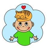 Мальчик шаржа и кот спать оранжевый Стоковые Фотографии RF