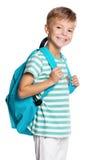 Мальчик школы с backpack Стоковые Изображения