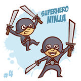 Мальчик Clipart Ninja супергероя Стоковое Изображение RF