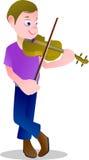 мальчик 234e играл скрипку для музыки Стоковая Фотография RF