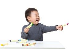 Мальчик Litte возбужденный для рисовать Стоковая Фотография