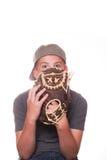 Мальчик Peeking вне от задней перчатки бейсбола Стоковое фото RF