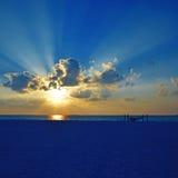 Мальдивский заход солнца Стоковые Изображения RF