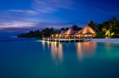Мальдивы на ноче Стоковое Изображение
