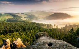 Мглистый ландшафт в Adrspach Стоковое Изображение
