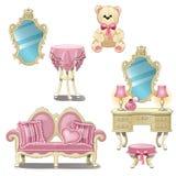 Мебель для внутренней комнаты девушки в розовом цвете изолированной на белой предпосылке Иллюстрация конца-вверх шаржа вектора иллюстрация штока