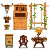 Мебель для интерьера хаты Forester или логова охотника также вектор иллюстрации притяжки corel иллюстрация вектора