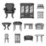 Мебель и внутренние monochrome значки в собрании комплекта для дизайна Домашняя иллюстрация сети запаса символа вектора мебели Стоковое Изображение