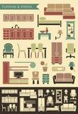 Мебель & внутренние значки Стоковое Изображение