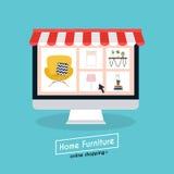 Мебель и электронная коммерция покупок плоской идеи проекта онлайн иллюстрация штока