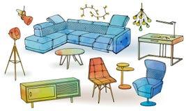 Меблировкы мебели watercoloe софы просторной квартиры бесплатная иллюстрация